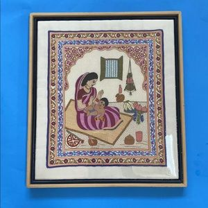 Vtg middle eastern needlepoint mother child art